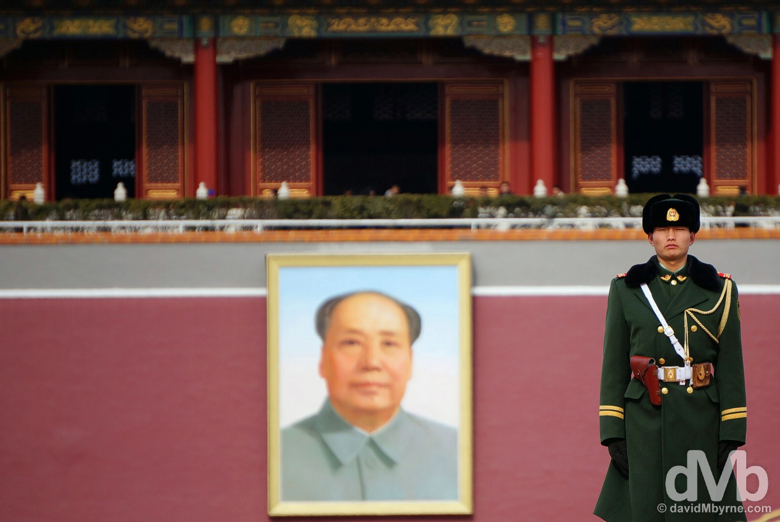 A guard in Tiananmen Square fronting the Tiananmen Gate, or Gate of Heavenly Peace, the entrance to the Place Museum, a.k.a. The Forbidden City, in Beijing, China. February 4, 2015.