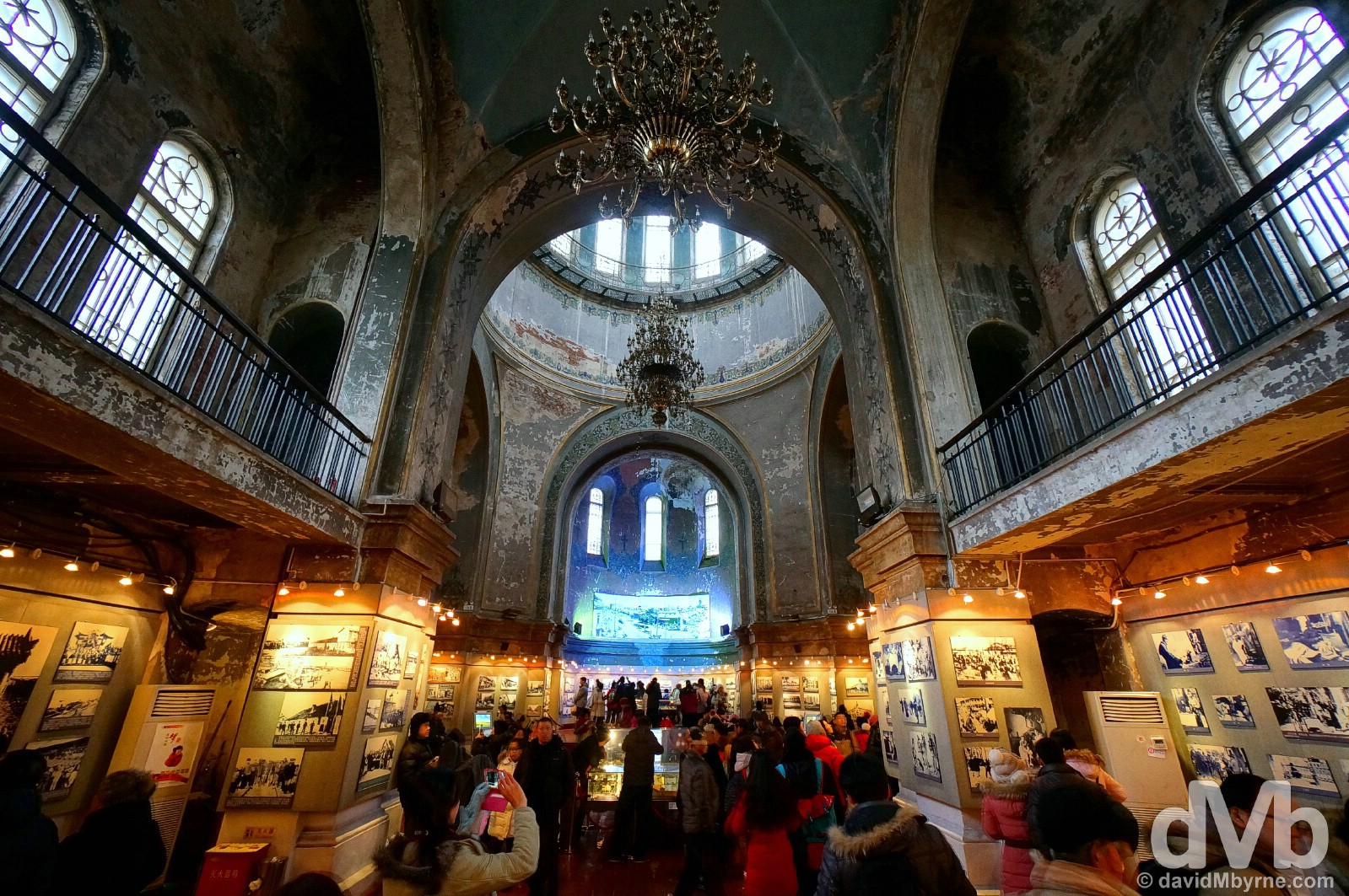 The photography exhibition of the Harbin Art & Architecture Centre inside the 1907 Cathedral of the Holy Wisdom of God, a.k.a. the Russian Orthodox cathedral or formally St. Sofia's, in central Harbin, China. February 6, 2015.