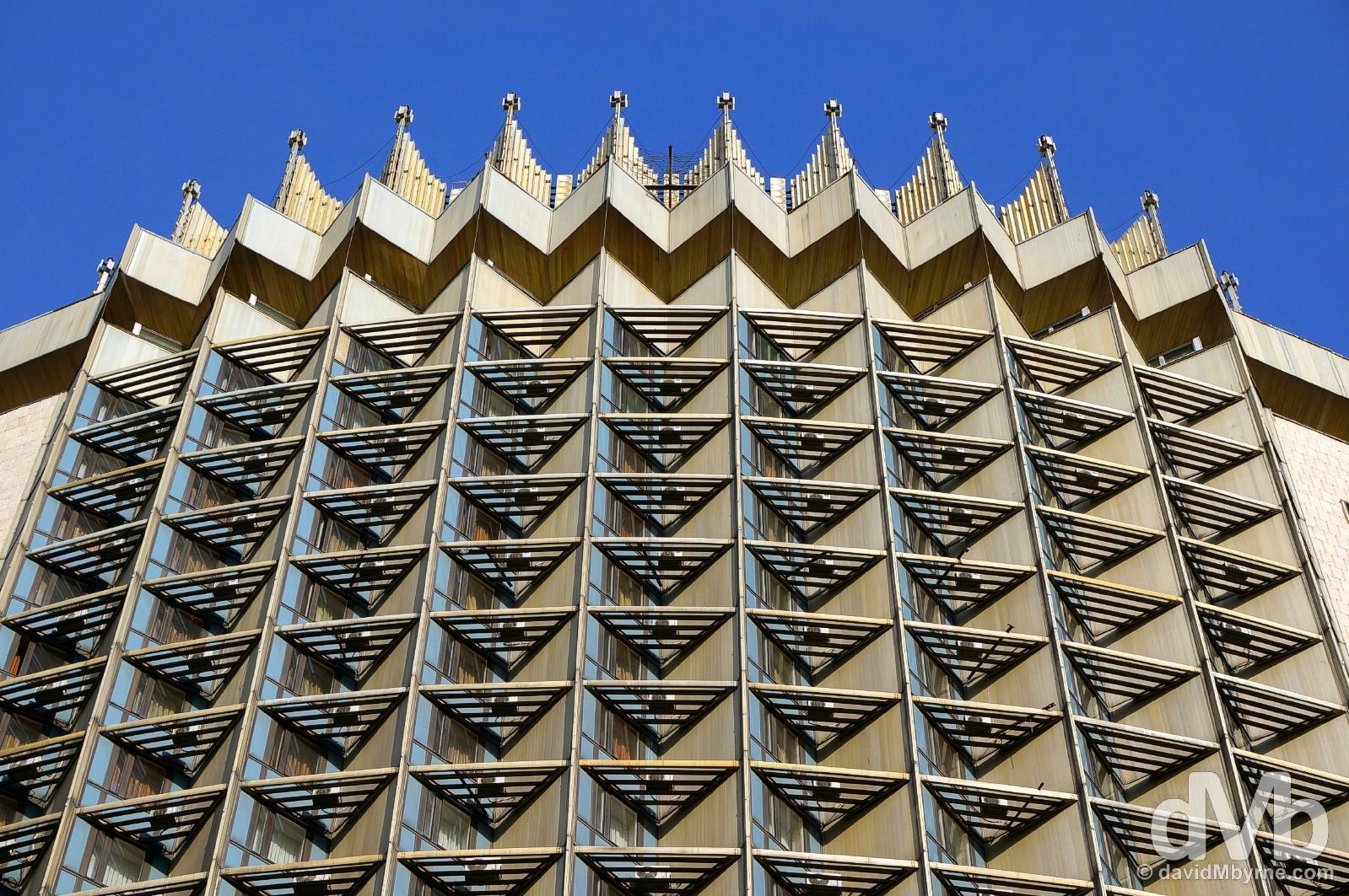 The upper floors of Hotel Kazakhstan in Almaty, Kazakhstan. February 21, 2015.