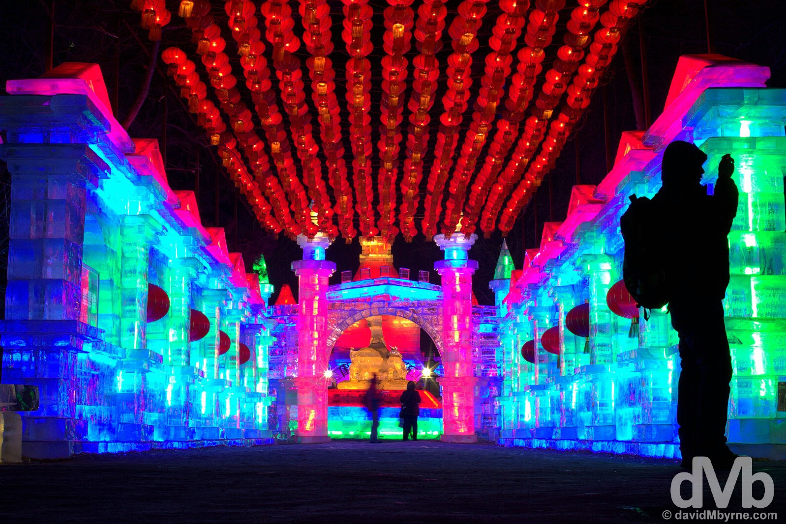 An ice structure in Zhaolin Park as part of the annual International Ice and Snow Sculpture Festival in Harbin, China. February 6, 2015.