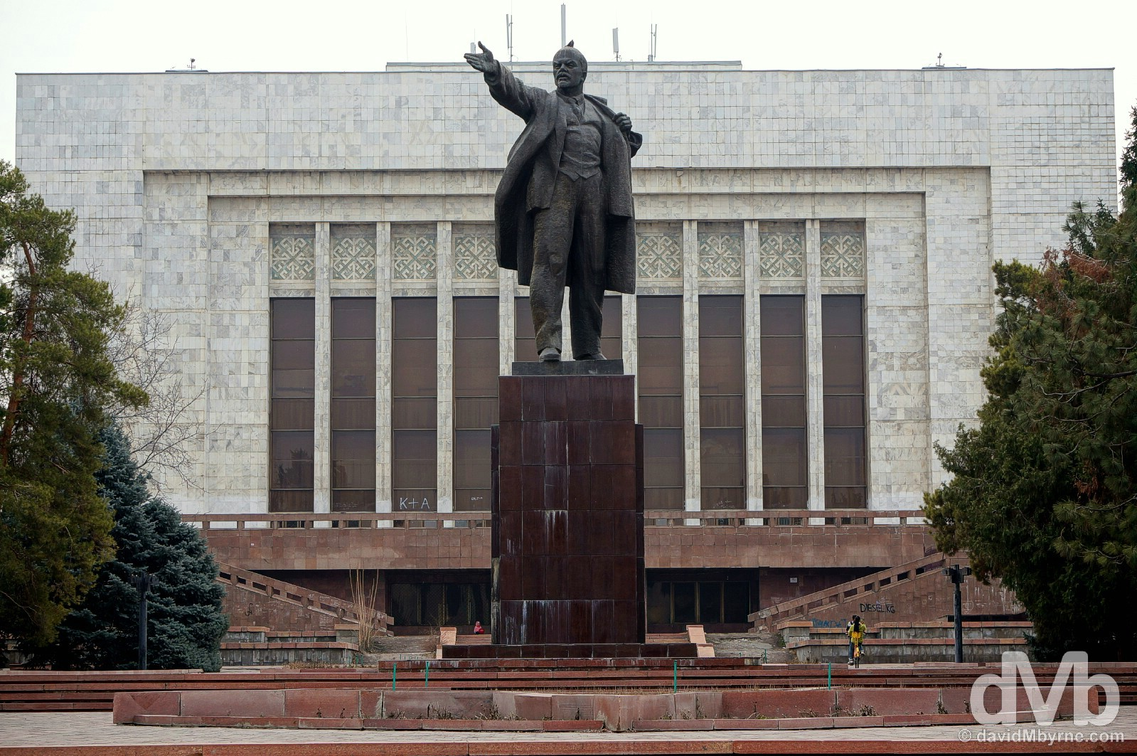 The relocated Lenin statue off Ala-Too Square in central Bishkek, Kyrgyzstan. February 23, 2015.