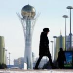 Looking east up Nurzhol Bulvar, the 2 kilometer long governmental & monumental zone in Astana, Kazakhstan. February 18, 2015.
