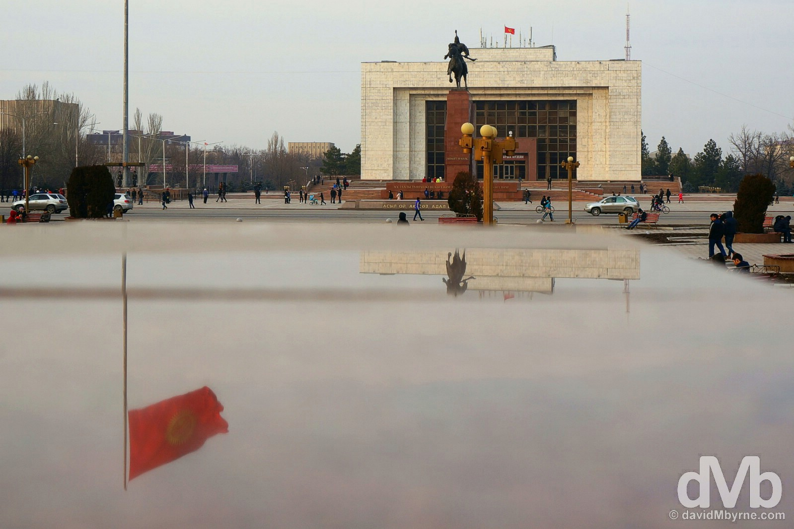 Reflections in Ala-Too Square in central Bishkek, Kyrgyzstan. February 23, 2015.