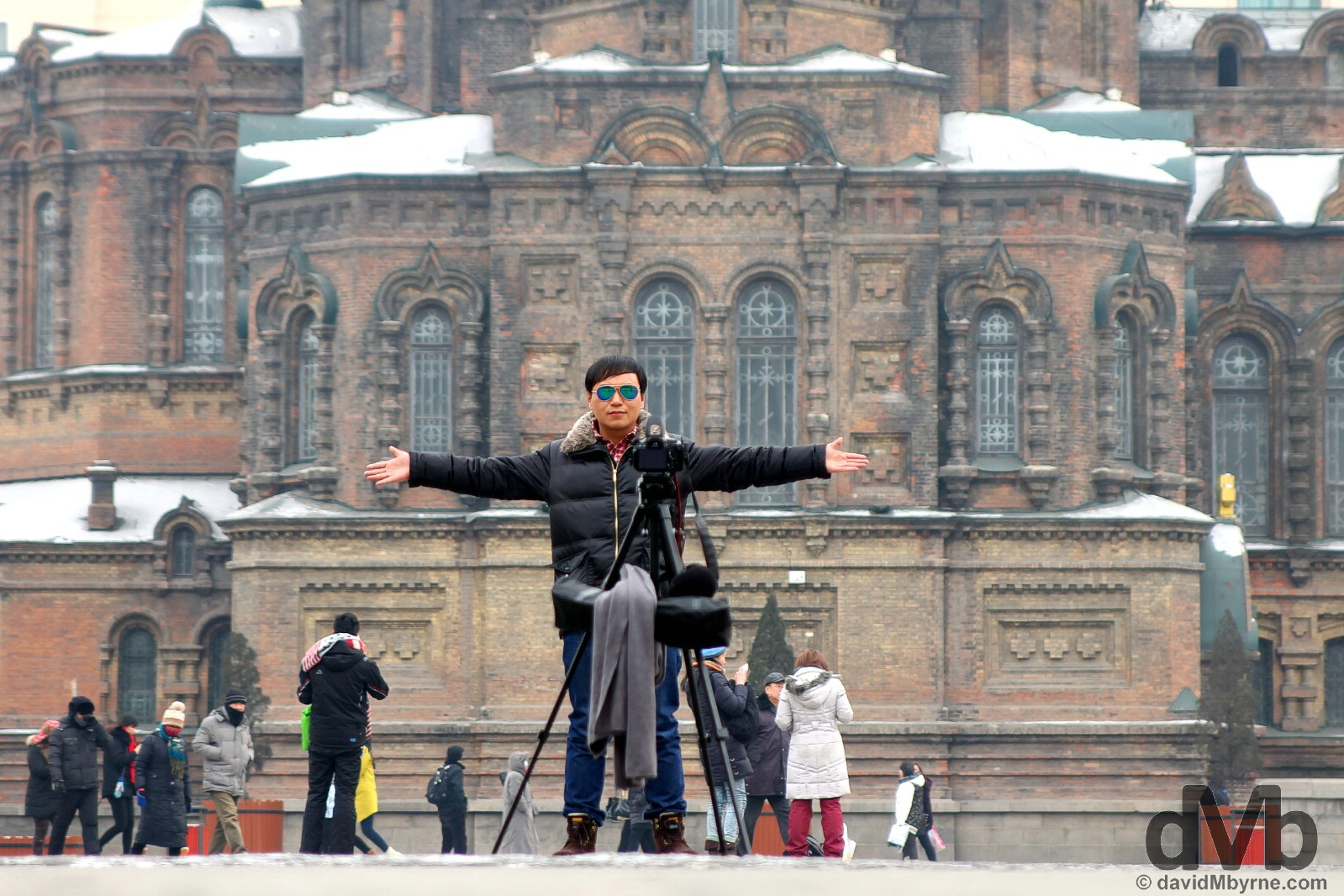 Selfie time in front of the Cathedral of the Holy Wisdom of God, a.k.a. the Russian Orthodox cathedral or formally St. Sofia's, in Harbin, China. February 6, 2015.