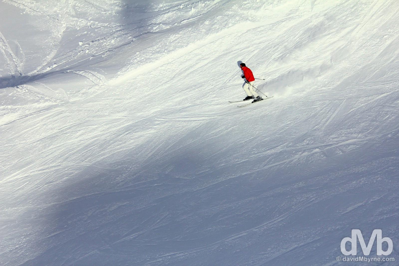A skier on the slopes at the Shymbulak Ski Resort in the Zailiysky Alatau range in southern Kazakhstan. February 14, 2015.