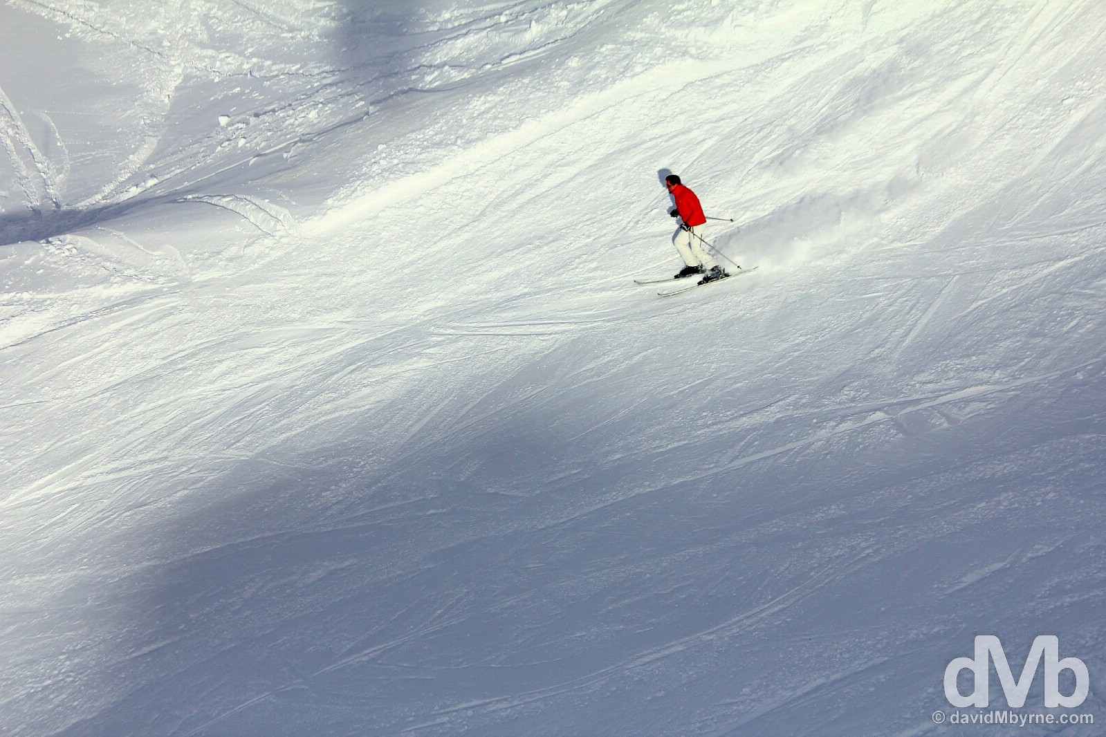 A skier on the slopes at the Shymbulak Ski Resort in the Zailiysky Alatau range in southern Kazakhstan. February 14, 2015.