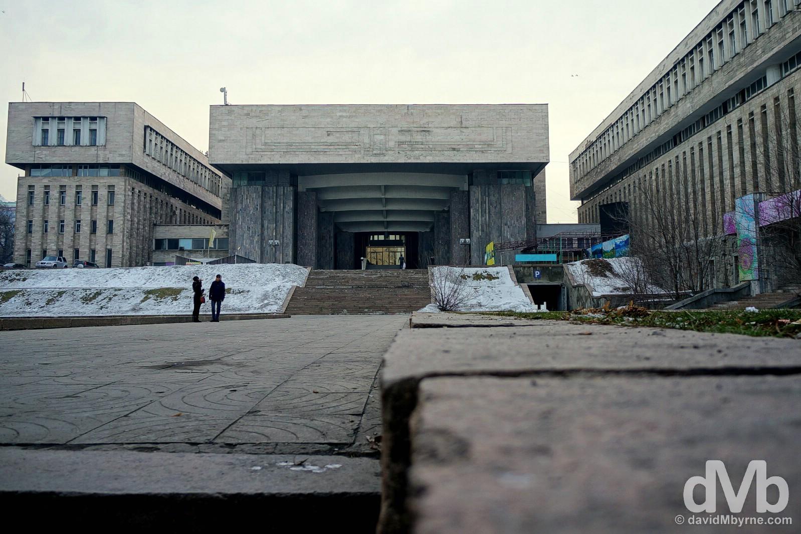 Soviet-era architecture on the streets of Almaty, Kazakhstan. February 14, 2015.
