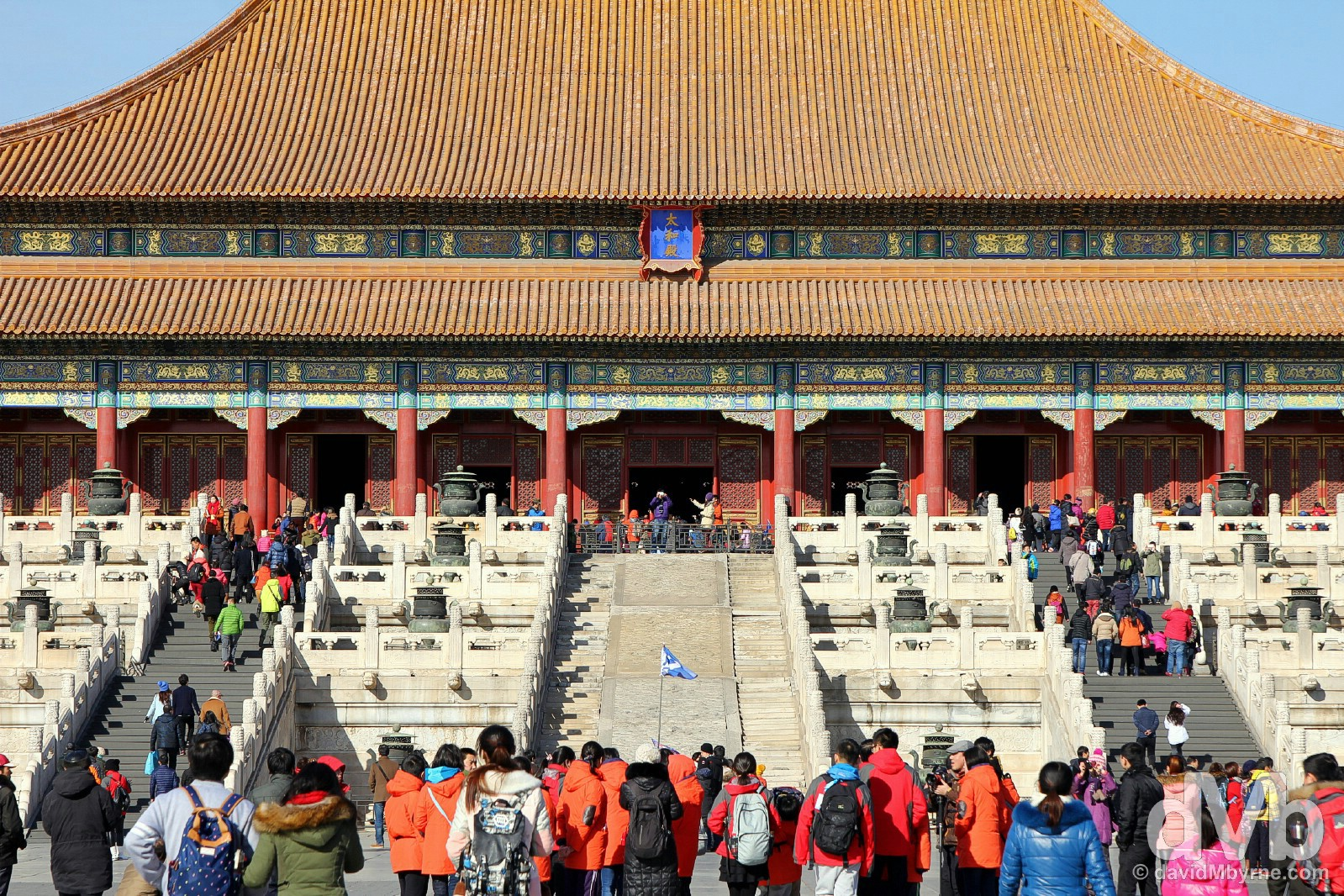 Tai He Dian (Hall of Supreme Harmony) in the Place Museum, a.k.a. The Forbidden City, the first & main hall of the three major halls of the outer court of the Forbidden City, in Beijing, China. February 4, 2015.