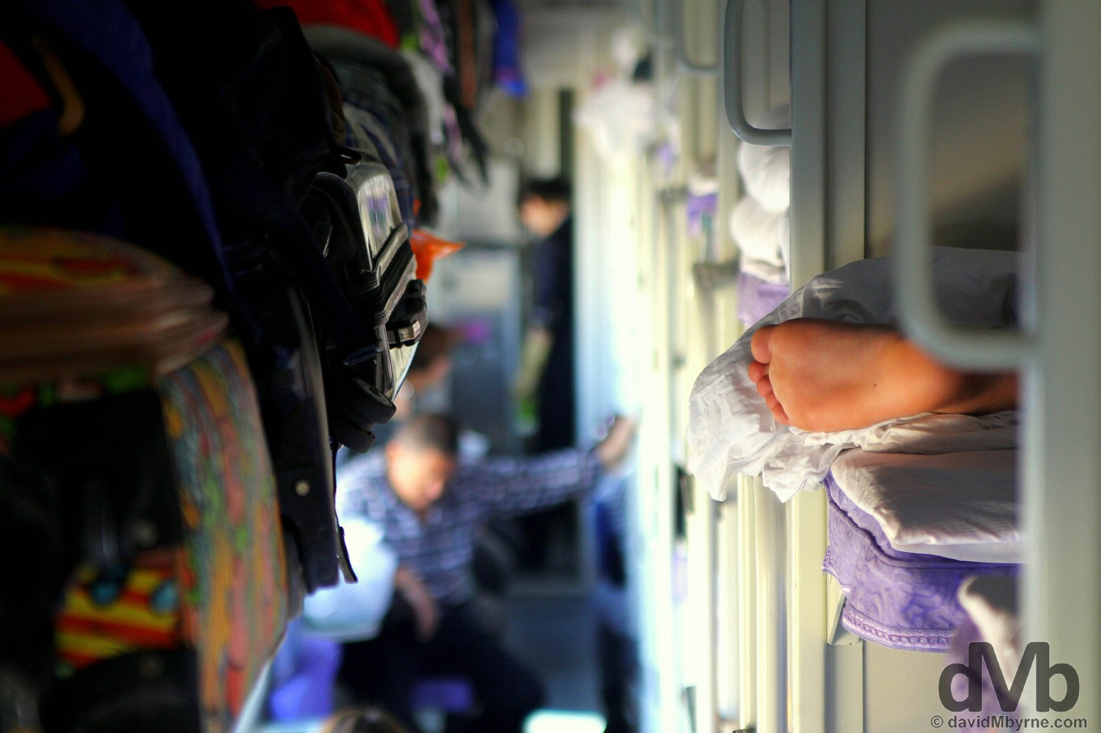 In the hard sleeper carriage 8 on the daily T177 Beijing to Urumqi train in China. February 9, 2015.