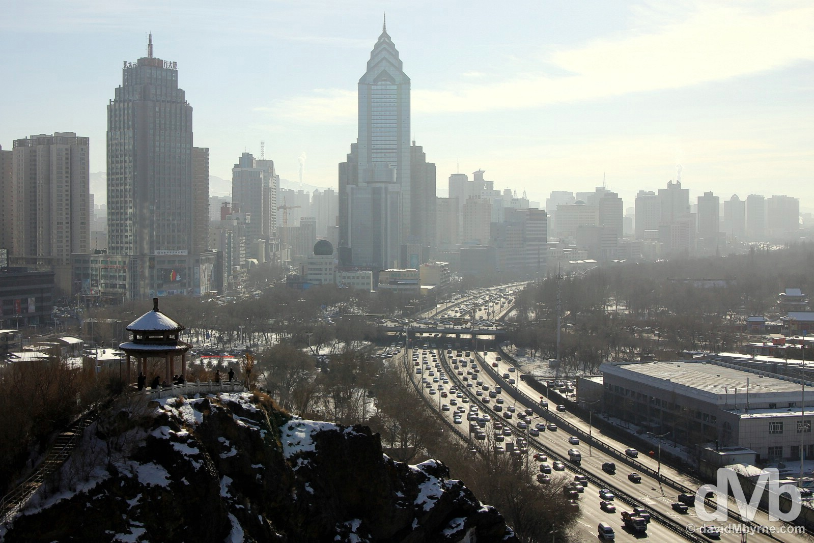 Urumqi as seen from the highest point in the city's Hongshan (Red Hill) Park. Urumqi, northwestern China. February 11, 2015.