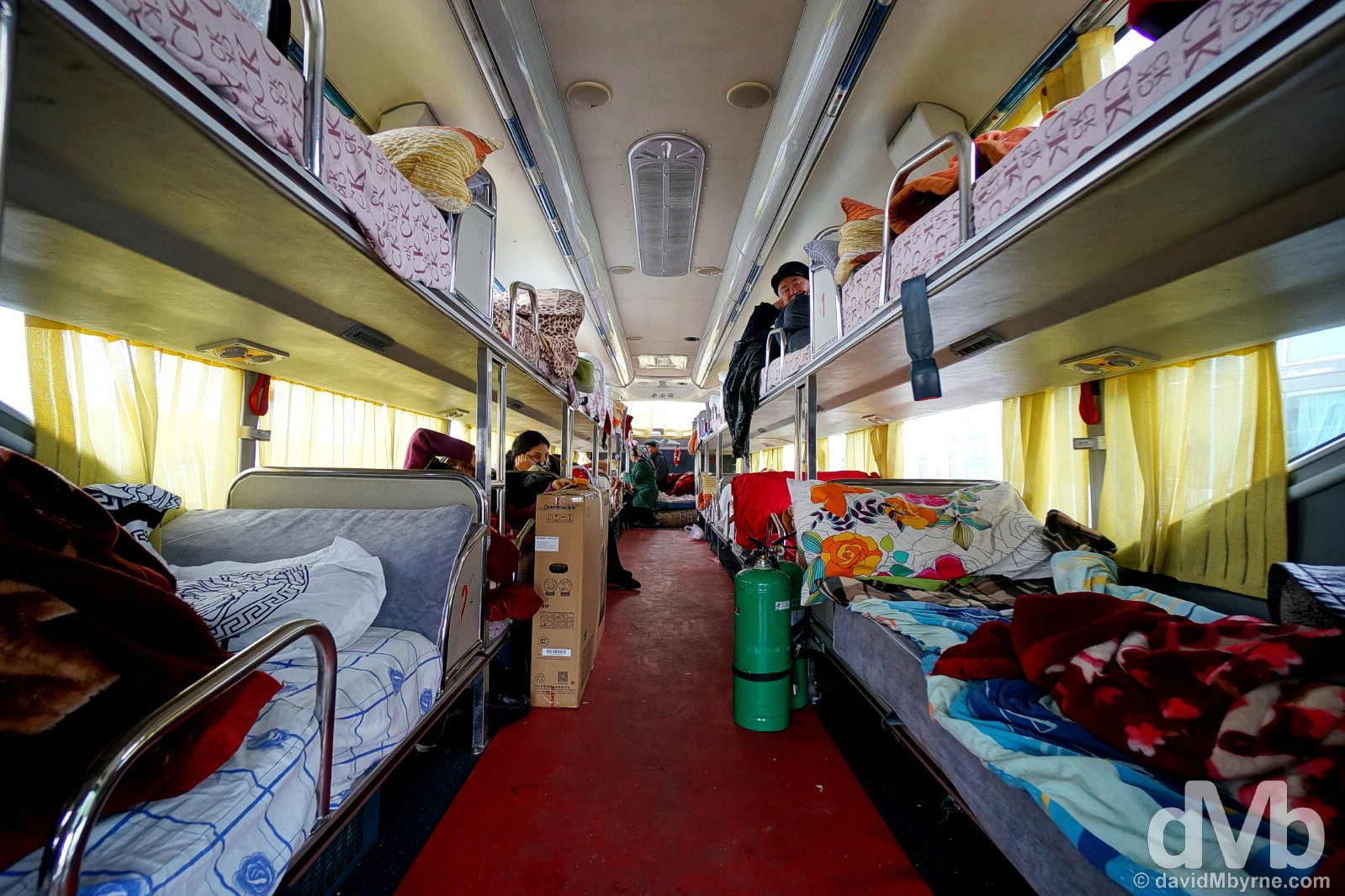 The Urumqi, China, to Almaty, Kazakhstan, sleeper bus on the Kazakh side of the Khorgos border crossing between China & Kazakhstan. February 12, 2015.