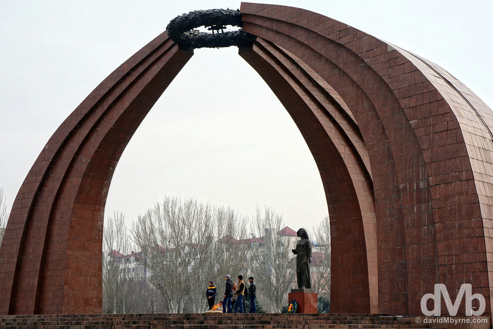 The War Memorial in Victory Square, Bishkek, Kyrgyzstan. February 23, 2015.