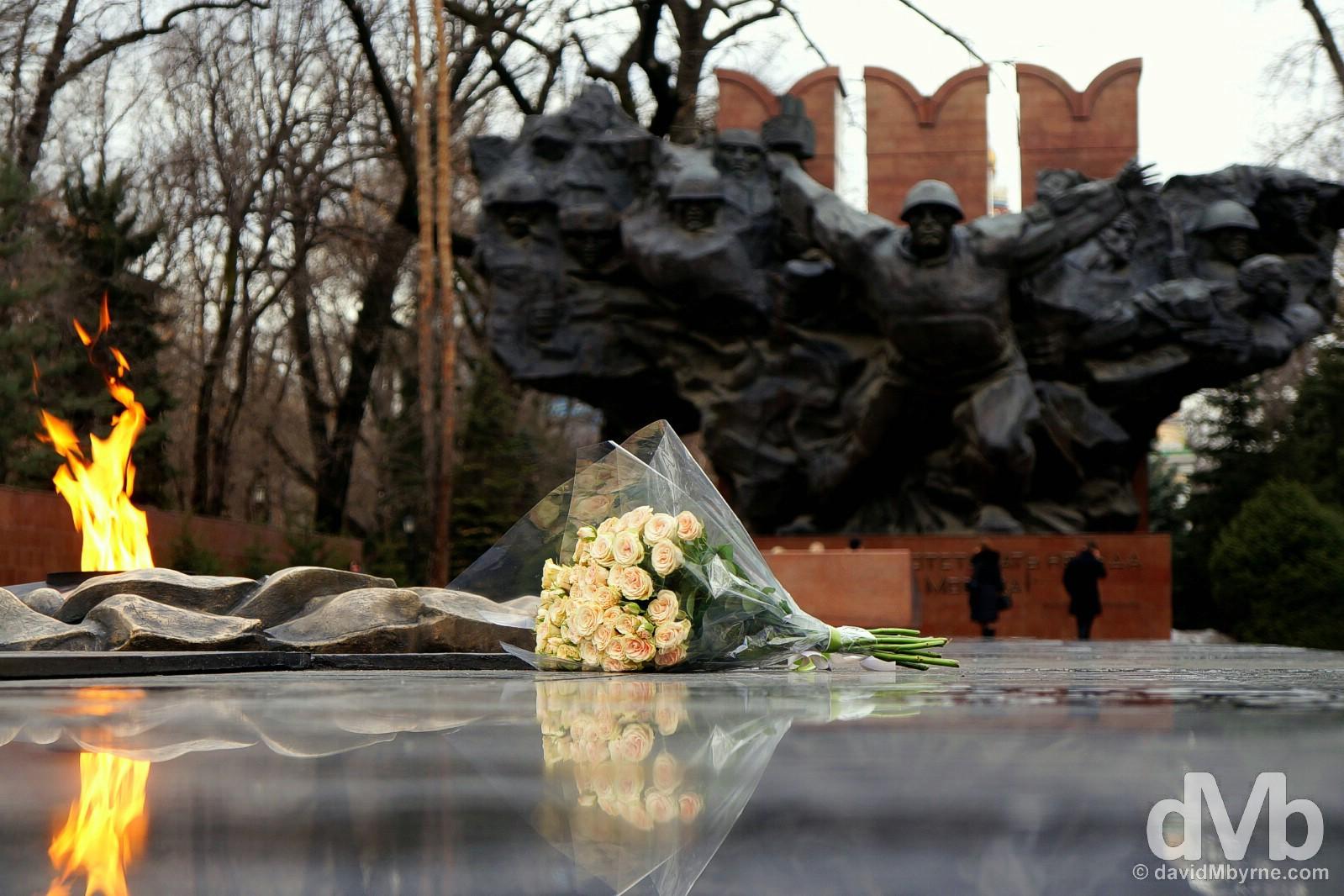 The War Memorial in Panfilov Park, Almaty, Kazakhstan. February 13, 2015.