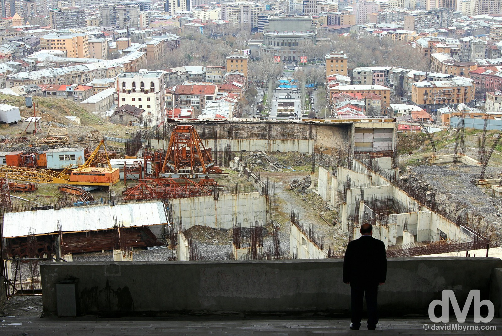 The view of Yerevan, Armenia, as seen from the city's 50th Anniversary of Soviet Armenia Monument. March 24, 2015.