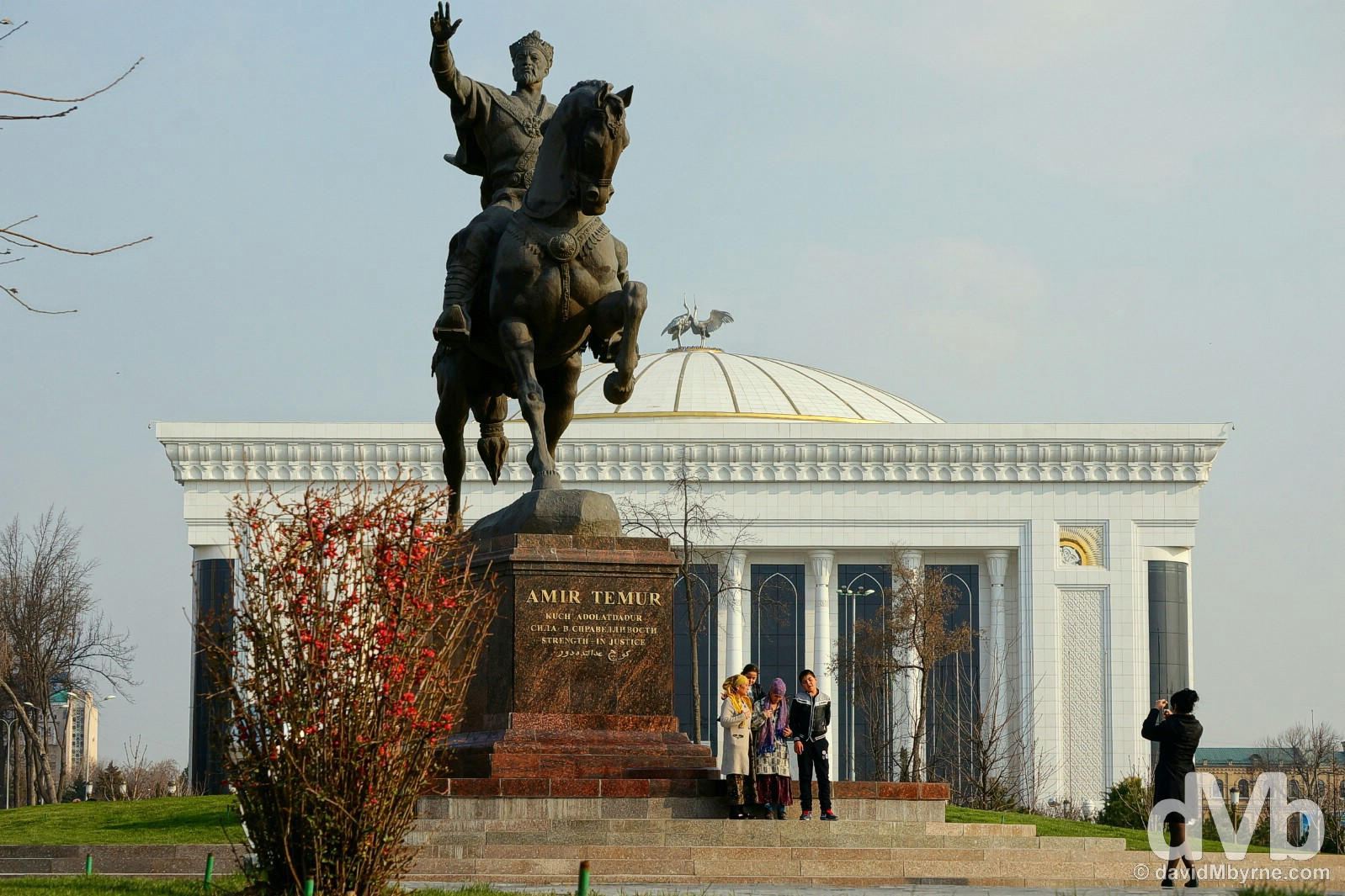 Photo time by the Timur Statue in Amir Timur Maydoni, the ceremonial centre of Tashkent, Uzbekistan. March 5, 2015.