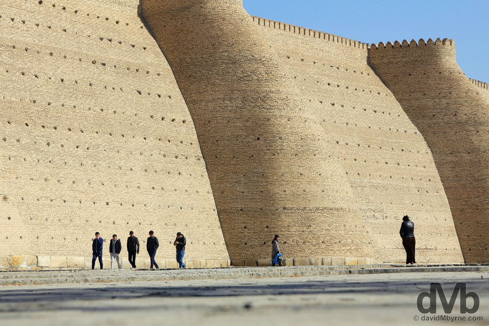 Outside the towering walls of the Ark citadel in Bukhara, Uzbekistan. March 11, 2015.