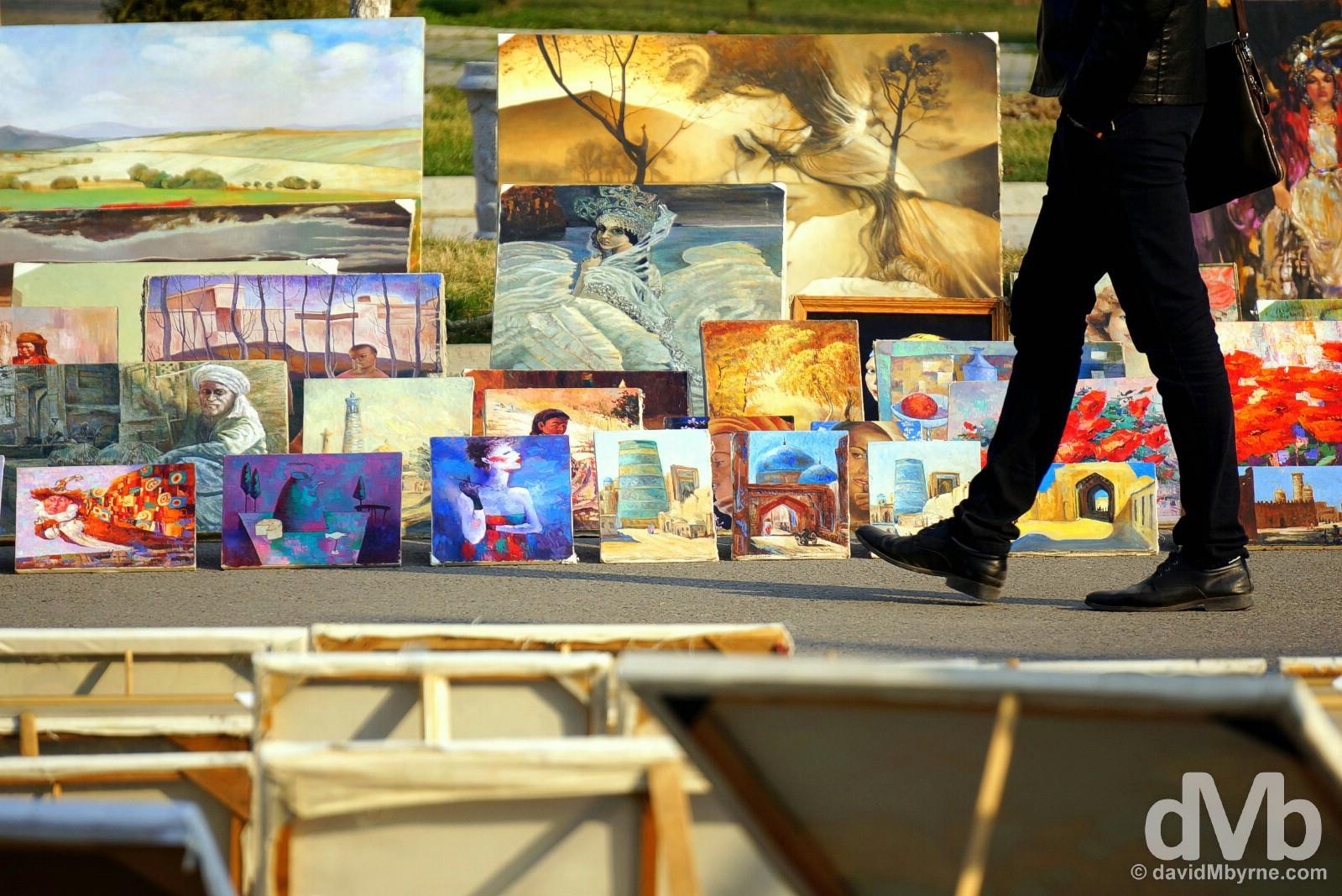 Art for sale on Sayilgoh (Broadway) in central Tashkent, Uzbekistan. March 5, 2015.