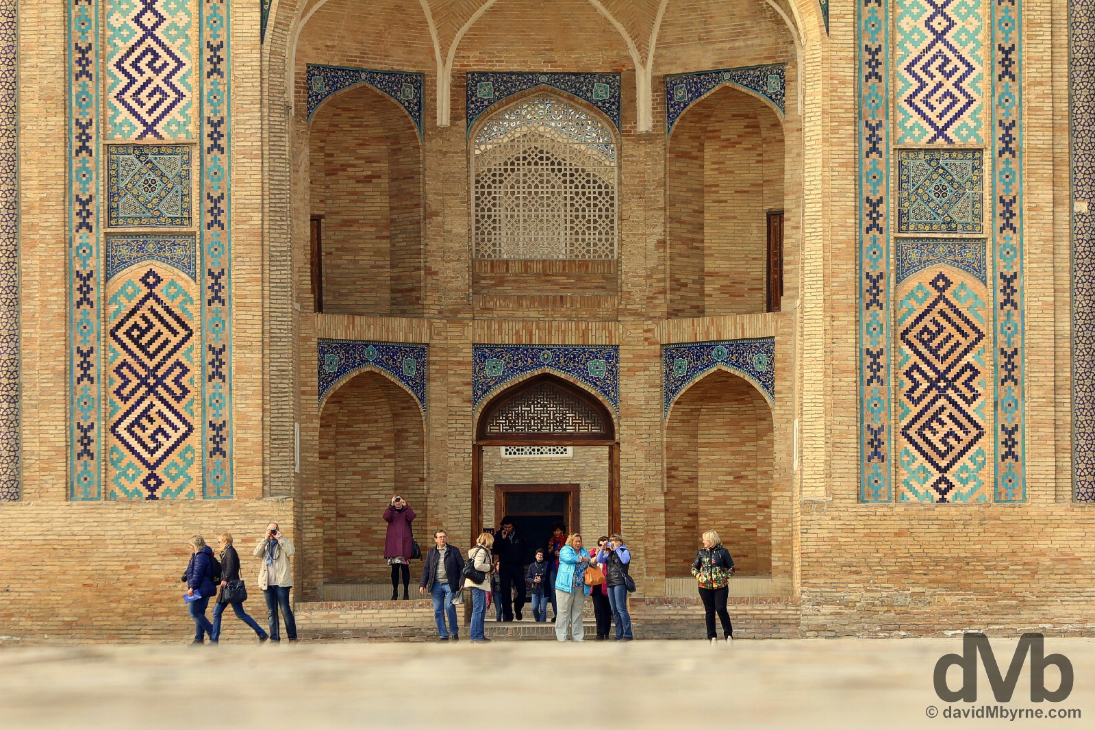 A portion of the facade of Barak Khan Medressa in Khast Imon, Tashkent, Uzbekistan. March 6, 2015.