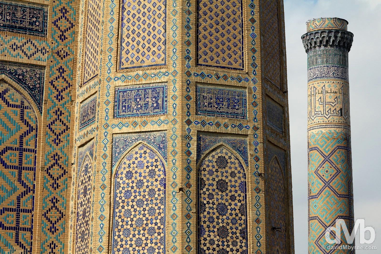 Tilework detail on the main facade & minaret of the Bibi-Khanym Mosque in Samarkand, Uzbekistan. March 8, 2015.