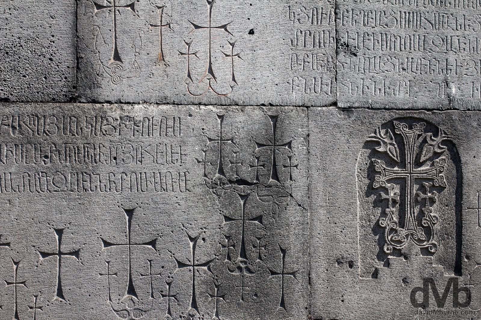 Carvings on the walls of the UNESCO-listed Haghpat Monastery in Lori Marz, Armenia. March 26, 2015.