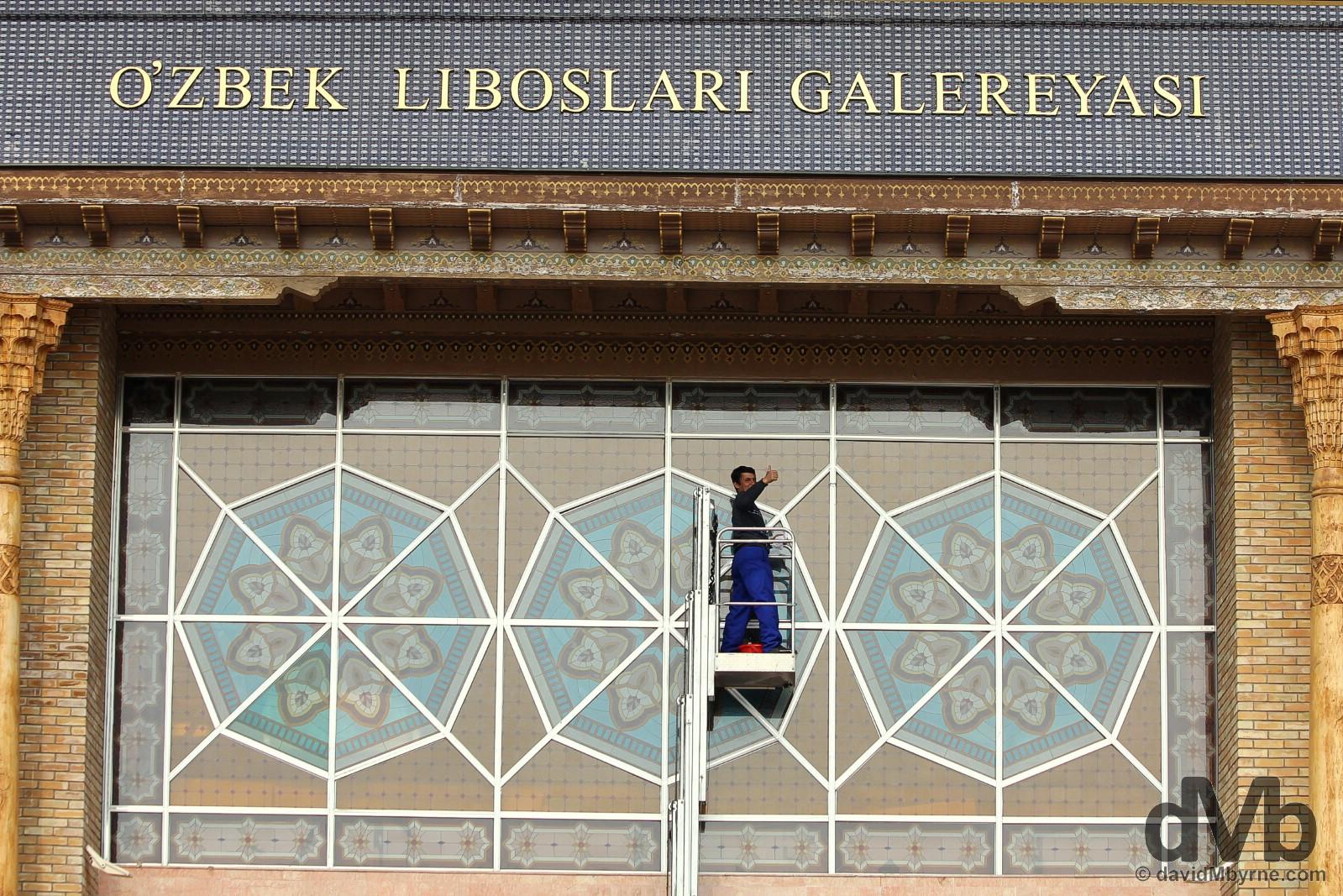 Thumbs up at the Centre of National Arts, Tashkent, Uzbekistan. March 6, 2015.