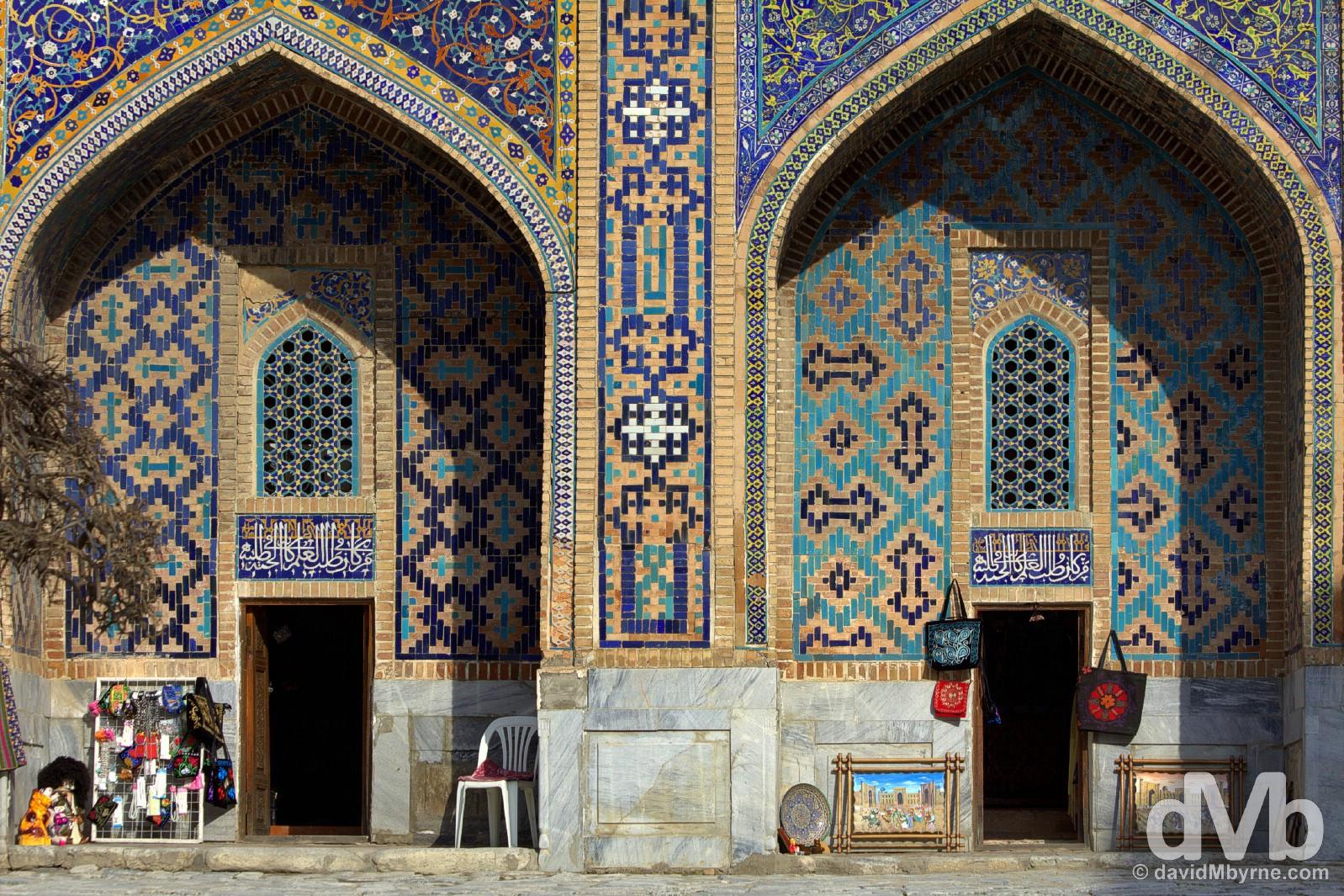 Souvenirs for sale in the courtyard of the Tilla-Kari Medressa of the Registan in Samarkand, Uzbekistan. March 8, 2015.