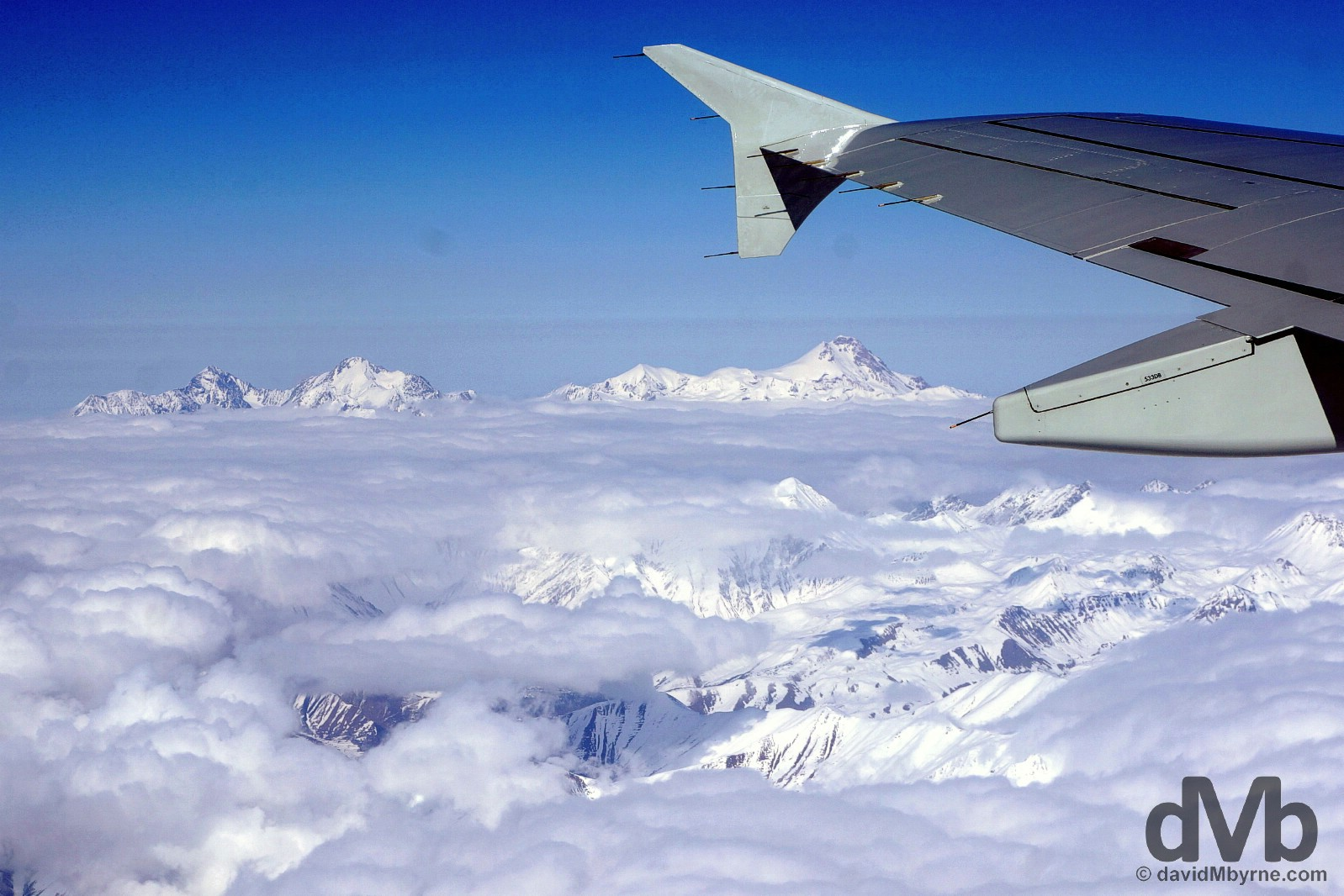 Caucasus Mountain scenery as seen from Siberia S7 Airlines flight 955 en route from Moscow, Russia, to Tbilisi, Georgia. March 18, 2015.