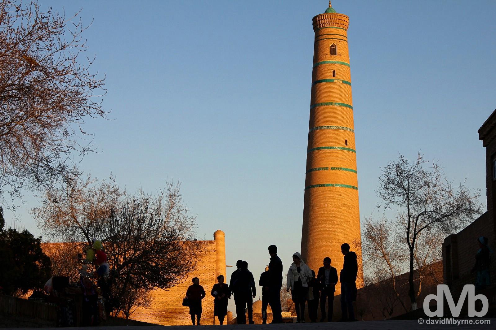 Sunset on Pahlavon Mahmud in Khiva, Uzbekistan. March 13, 2015.