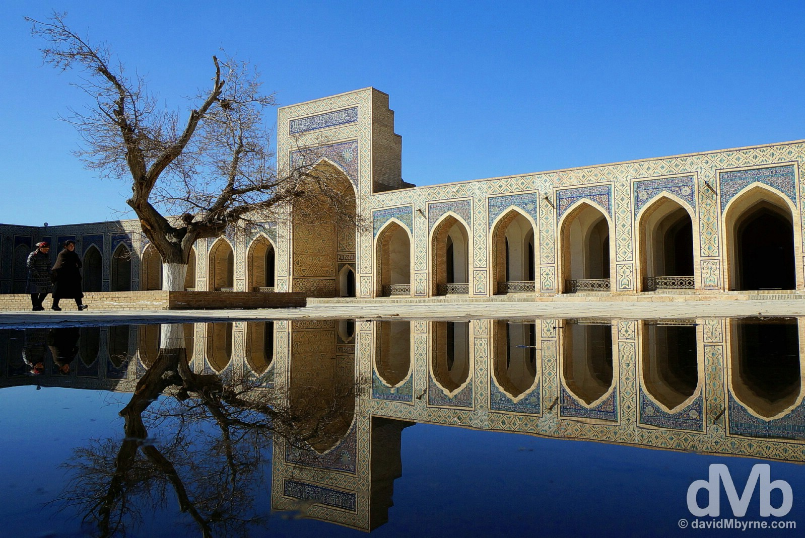 Reflections in the main courtyard of the Kalon Mosque in Bukhara, Uzbekistan. March 12, 2015.
