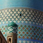 Detail of the Katla Minor Minaret in Khiva, Uzbekistan. March 14, 2015.