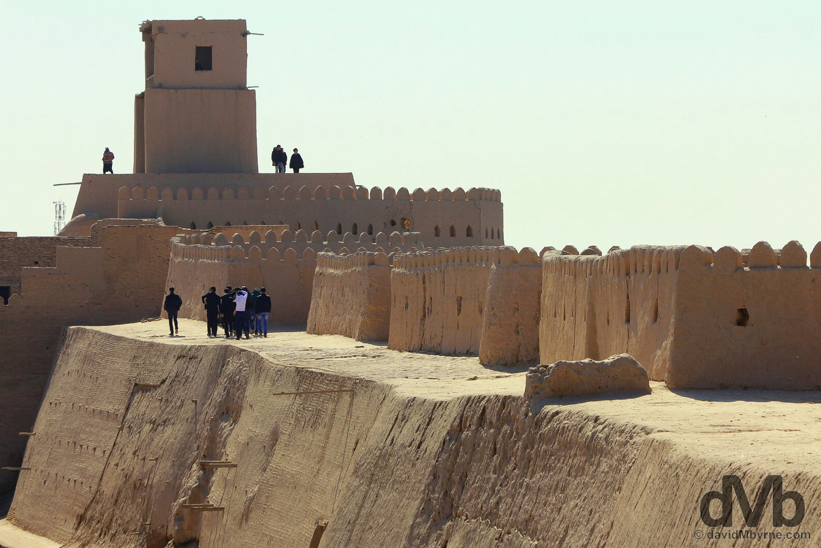 Walking atop the city wall towards the Kuhna Ark Watchtower in Khiva, Uzbekistan. March 14, 2015.