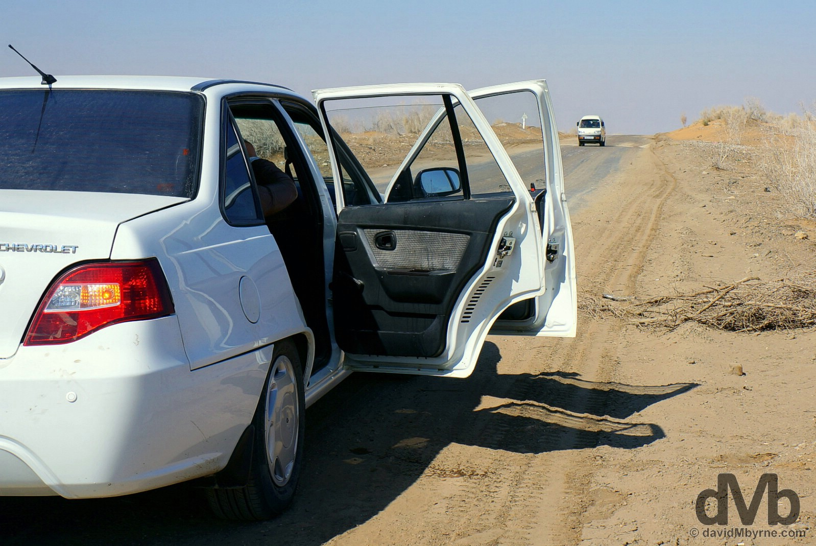 In the Kyzylkum Desert en route from Bukhara to Khiva, Uzbekistan. March 13, 2015.