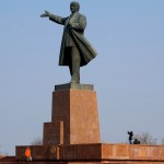 The Lenin Statue in Osh, southern Kyrgyzstan. March 3, 2015.