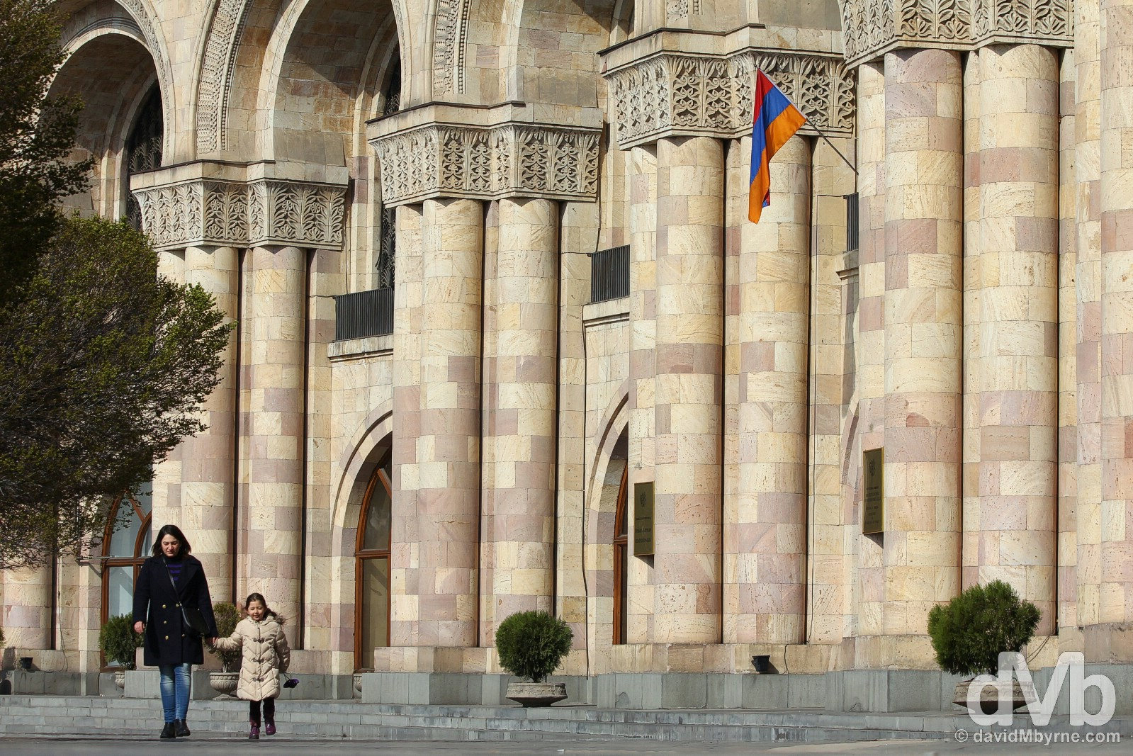 Outside the Ministry of Foreign Affairs in Hanrapetutyan Hraparak (Republic Square), Yerevan, Armenia. March 25, 2015.