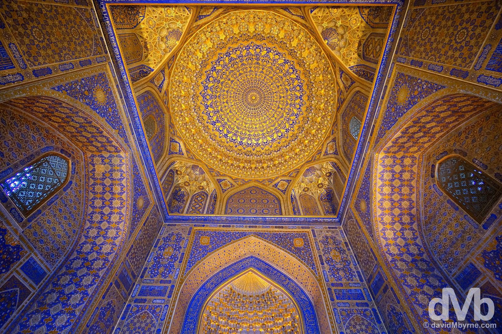 The stunning golf leaf-heavy ceiling of the mosque in the Tilla-Kari Medressa of the Registan in Samarkand, Uzbekistan. March 8, 2015.