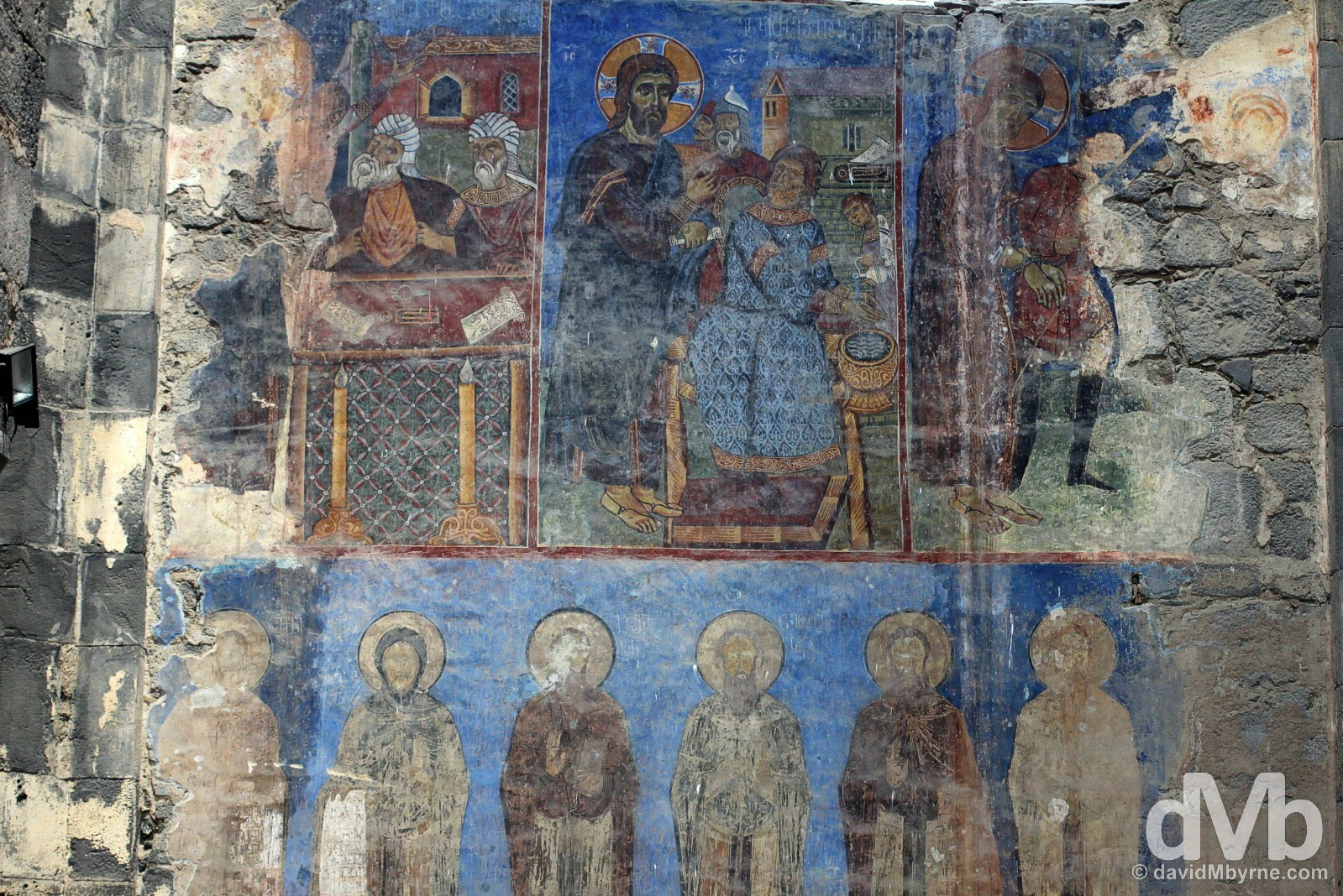 Murals on the walls of the Akhtala Monastery in Lori Marz, Armenia. March 26, 2015.