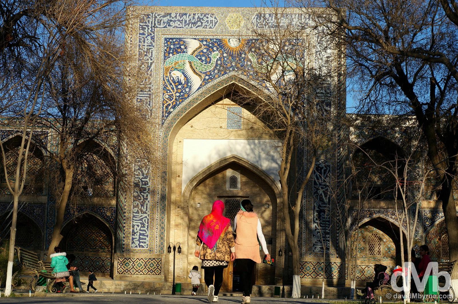 The facade of the Nadri Divanbegi Medressa in Lyabi-Hauz, Bukhara, Uzbekistan. March 12, 2015.