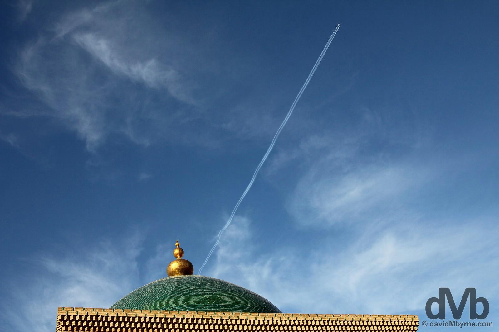 Skies above the Pahlavon Mahmud Mausoleum in Khiva, Uzbekistan. March 14, 2015.