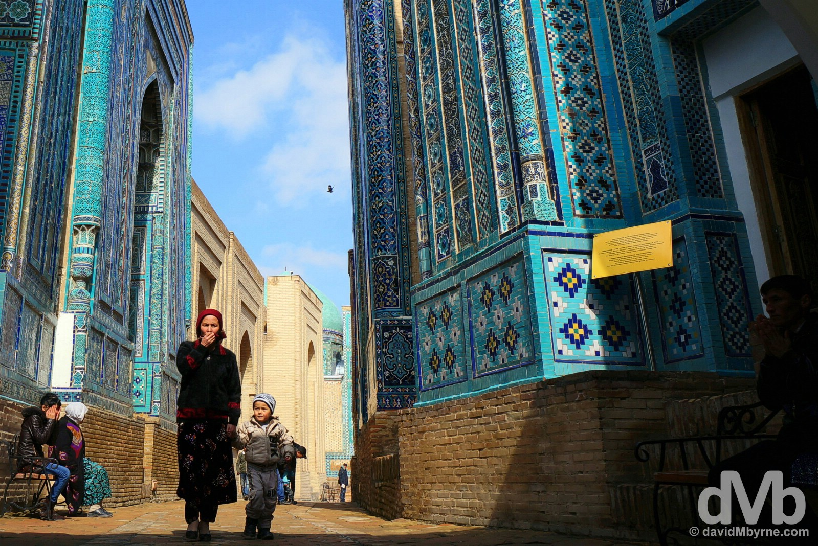 Walking through Shah-i-Zinda, the Avenue of Mausoleums, in Samarkand, Uzbekistan. March 8, 2015.