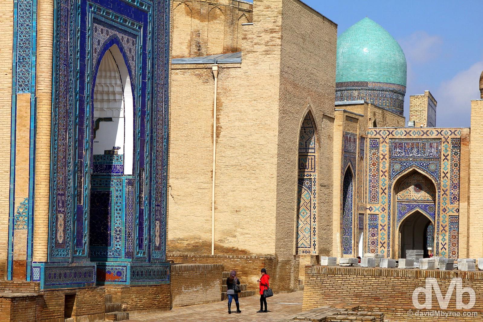 Shah-i-Zinda, the Avenue of Mausoleums, in Samarkand, Uzbekistan. March 8, 2015.