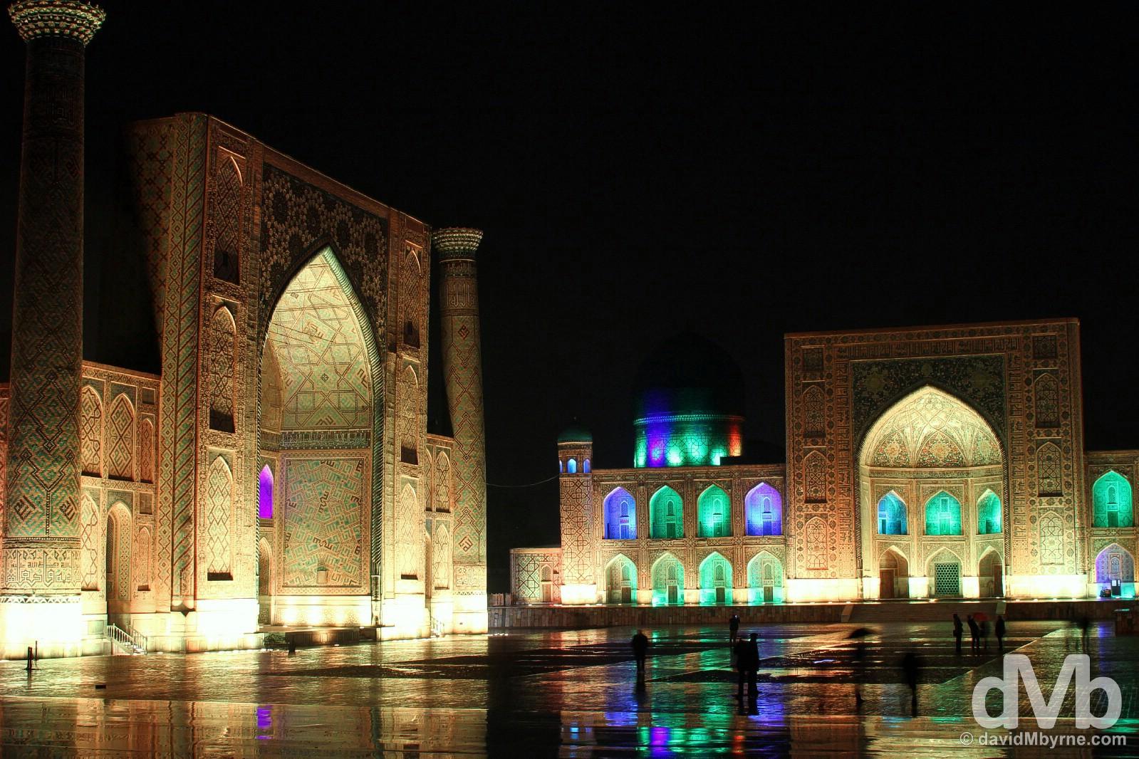 Sound & Light Show at the The Registan in Samarkand, Uzbekistan. March 7, 2015.