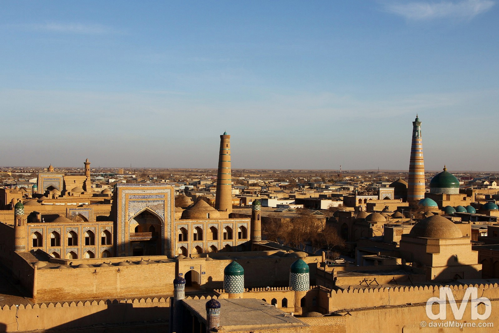Approaching sunset as seen from the Ark Watchtower in Khiva, Uzbekistan. March 14, 2015.