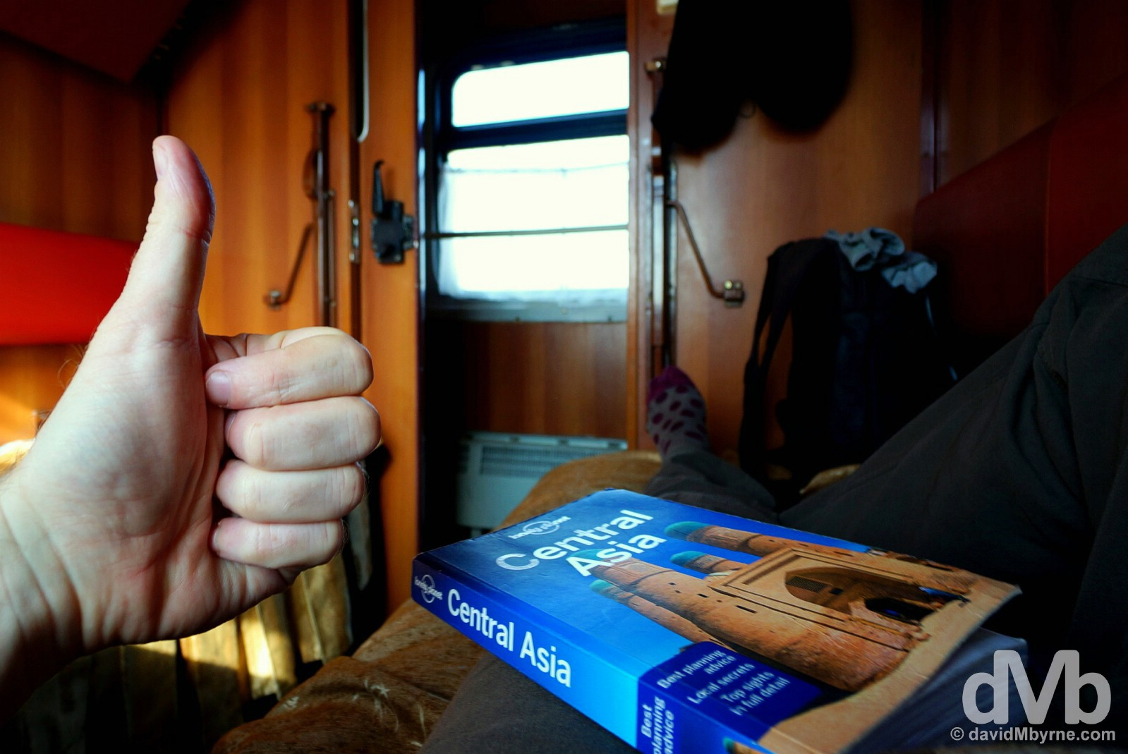 A big thumbs up to Central Asia on the overnight train from Urgench to Tashkent, Uzbekistan. March 17, 2015.