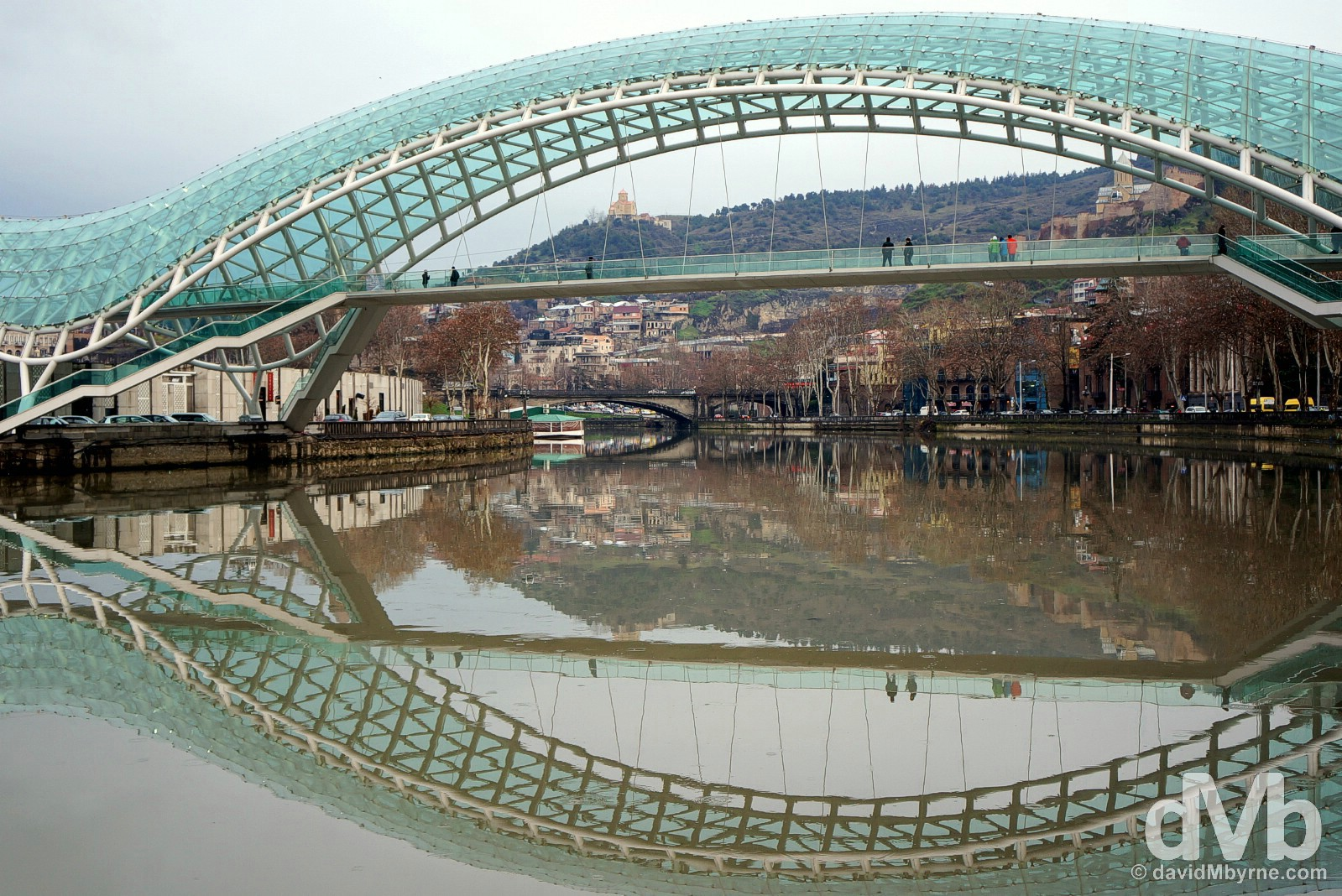 Reflections on the Kura River in Tbilisi, Georgia. March 20, 2015.