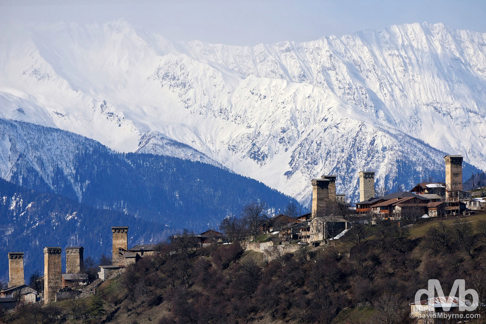 Svan Towers in the highland town of Mestia in the Caucasus Mountains in northwest Georgia. March 21, 2015.
