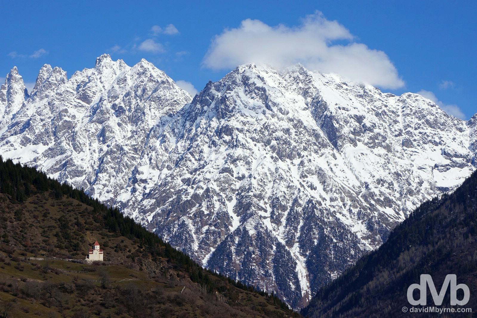 The entrance to the Mestiachala Valley outside the highland town of Mestia in the Caucasus Mountains in northwest Georgia. March 22, 2015.