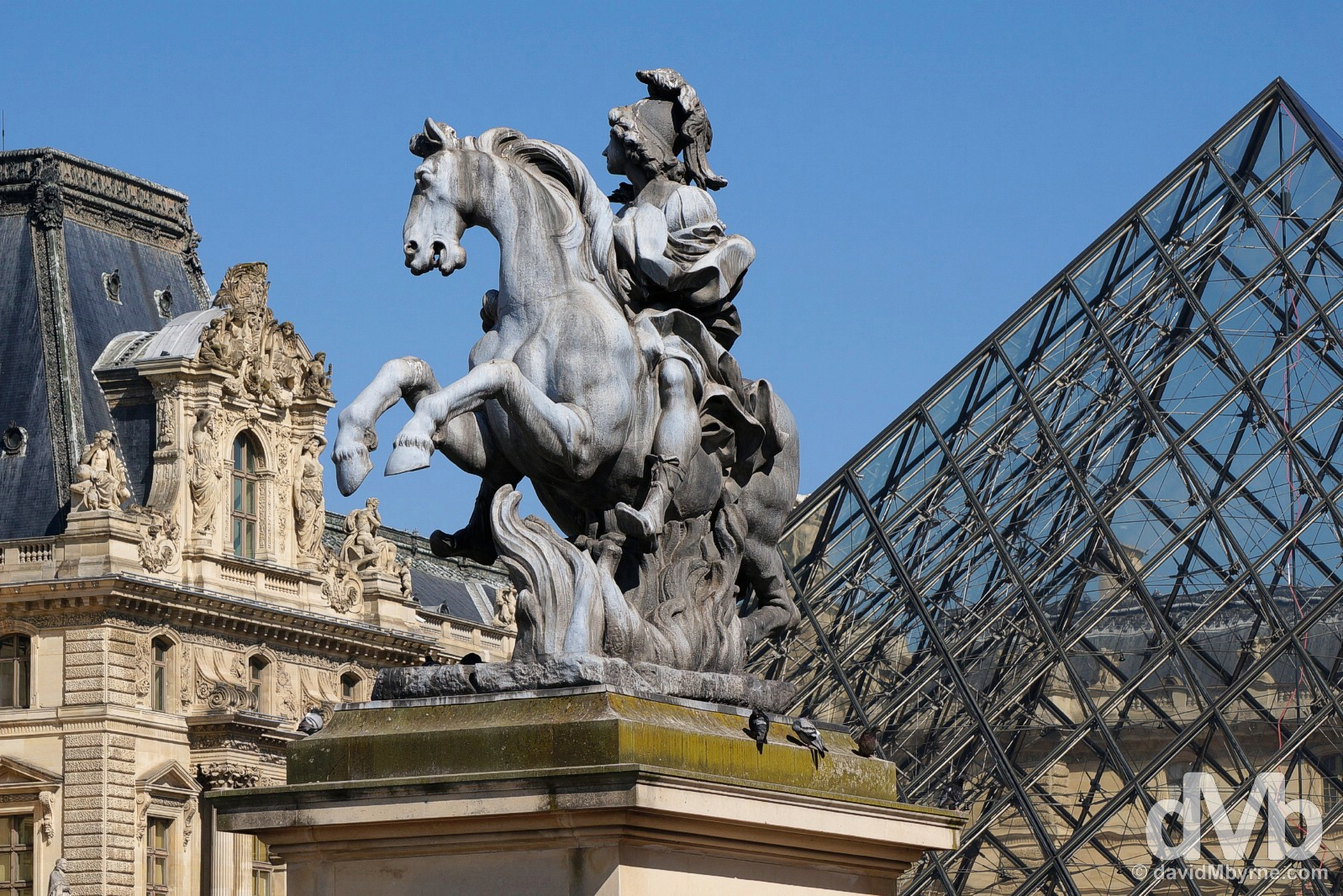 Cour Napoléon (the Napoleon Courtyard), Palace du Louvre, Paris, France. April 23, 2015.