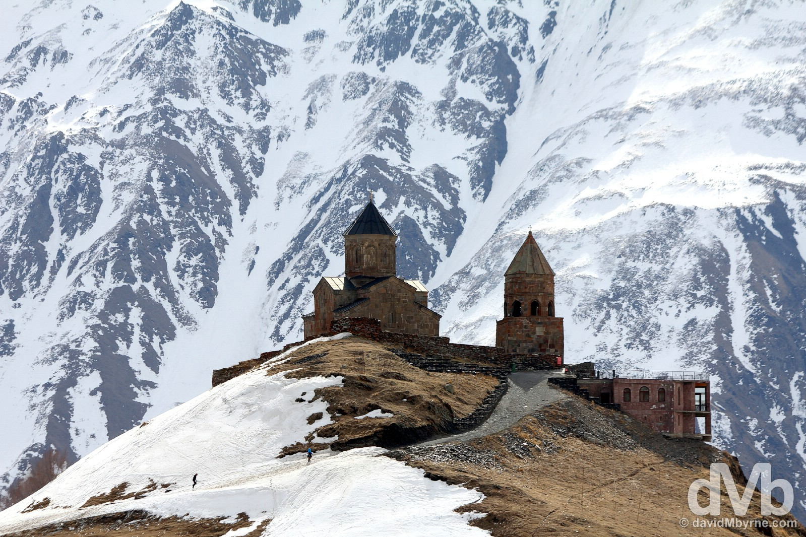Approaching the Tsminda Sameba/Holy Trinity Church above the village of Stepantsminda in northern Georgia. March 28, 2015.