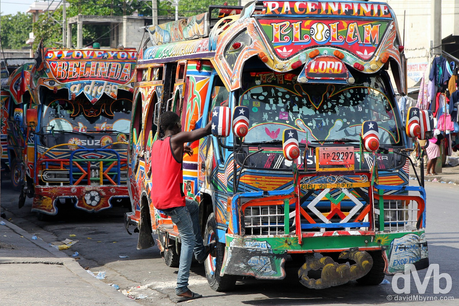 Buses on the streets of Port-au-Prince, Haiti. May 17, 2015.