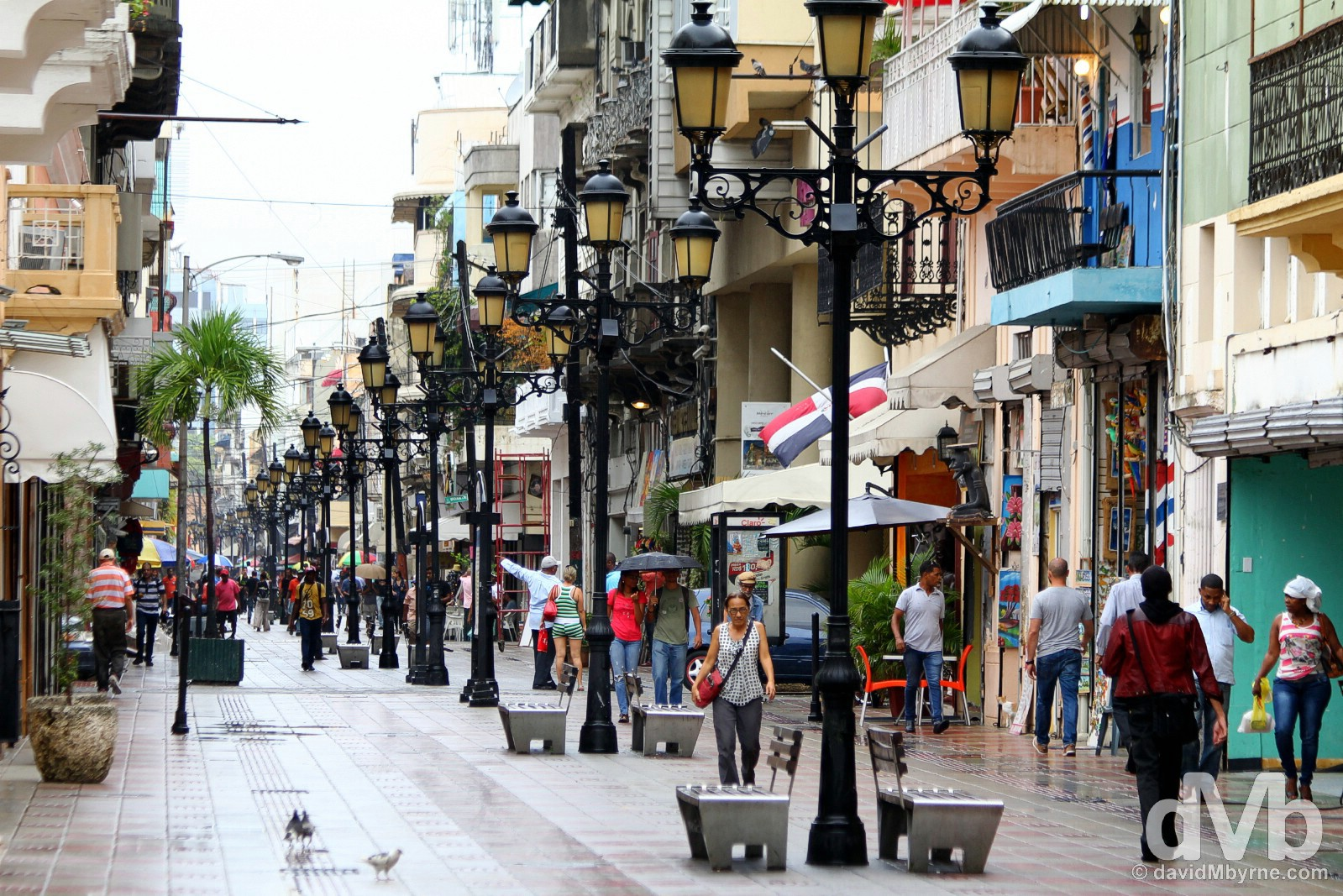 Pedestrianised El Conde in Santo Domingo, Dominican Republic. May 25, 2015.
